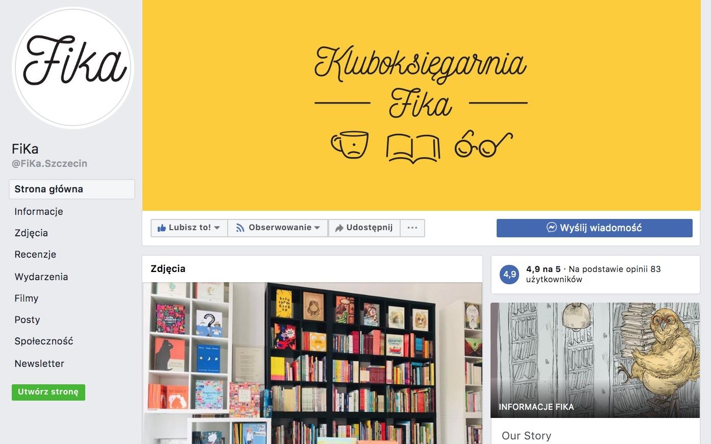 Dobry przykład: strona księgarni FiKa na Facebooku. Źródło: www.facebook.com/FiKa.Szczecin/
